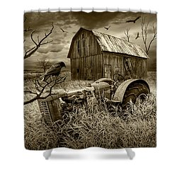 Shower Curtain featuring the photograph The Decline And Death Of The Small Farm In Sepia Tone by Randall Nyhof