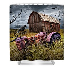 Shower Curtain featuring the photograph The Decline And Death Of The Small Farm by Randall Nyhof