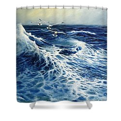 The Deep Blue Sea Shower Curtain by Eileen Patten Oliver