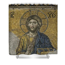 The Dees Mosaic In Hagia Sophia Shower Curtain by Ayhan Altun