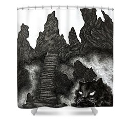The Demon Cat Shower Curtain