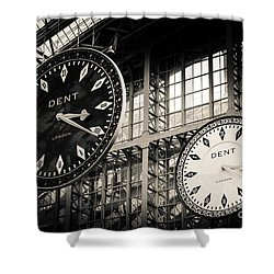 The Dent Clock And Replica At St Pancras Railway Station Shower Curtain