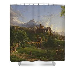 The Departure Shower Curtain by Thomas Cole
