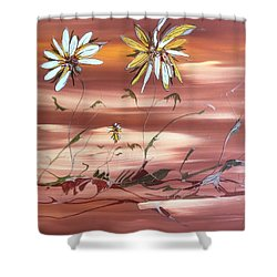 Shower Curtain featuring the painting The Desert Garden by Pat Purdy