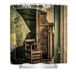 The Desk Shower Curtain by Phillip Burrow