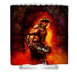 Shower Curtain featuring the digital art The Devil's Henchman by Kim Gauge