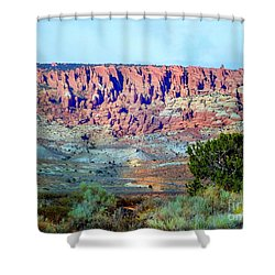 The Devil's Post Holes Shower Curtain by Annie Gibbons