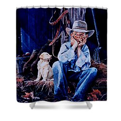 Shower Curtain featuring the painting The Dilemma by Hanne Lore Koehler