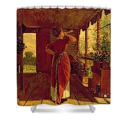 The Dinner Horn Shower Curtain by Winslow Homer