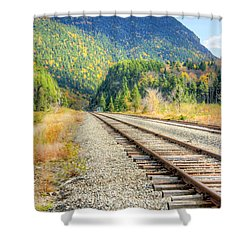 The Disappearing Railroad Shower Curtain