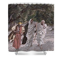 The Disciples On The Road To Emmaus Shower Curtain by Tissot