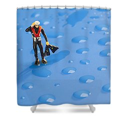 Shower Curtain featuring the photograph The Diver Among Water Drops Little People Big World by Paul Ge