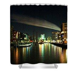 The Docks Of Hamburg By Night Shower Curtain by Rob Hawkins