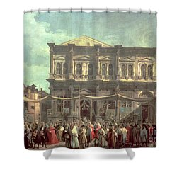 The Doge Visiting The Church And Scuola Di San Rocco Shower Curtain by Canaletto