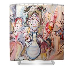 The Dolls Decorate The Toy Factory  Shower Curtain by Judith Desrosiers