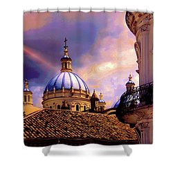 The Domes Of Immaculate Conception, Cuenca, Ecuador Shower Curtain by Al Bourassa