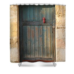 The Door And The Hand Shower Curtain by Yoel Koskas