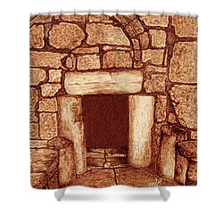 Shower Curtain featuring the painting The Door Of Humility At The Church Of The Nativity Bethlehem by Georgeta Blanaru