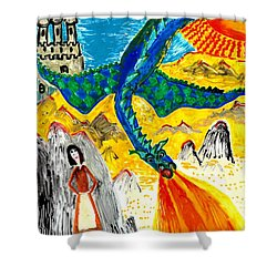 The Dragon Shower Curtain by Sushila Burgess
