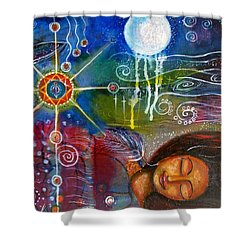 Shower Curtain featuring the painting The Dreamer by Prerna Poojara