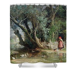 The Duck Pond Shower Curtain by Eduard Heinel