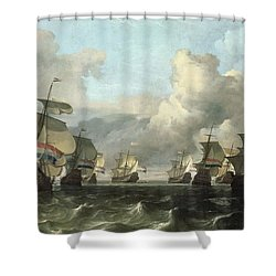 The Dutch Fleet Of The India Company Shower Curtain by Ludolf Backhuysen