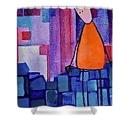 Shower Curtain featuring the painting The Edge by Donna Howard