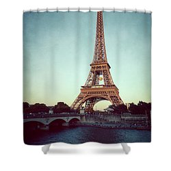 Shower Curtain featuring the photograph The Eifeltower by Hannes Cmarits