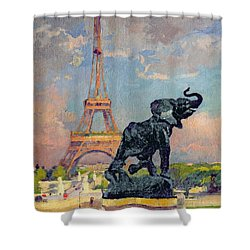 The Eiffel Tower And The Elephant By Fremiet Shower Curtain by Jules Ernest Renoux