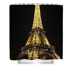 The Eiffel Tower At Night Illuminated, Paris, France. Shower Curtain by Perry Van Munster