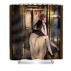 The Elevator Girl Shower Curtain