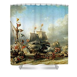 The Embarkation Of Ruyter And William De Witt In 1667 Shower Curtain by Louis Eugene Gabriel Isabey