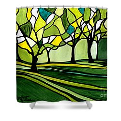 The Emerald Glass Forest Shower Curtain