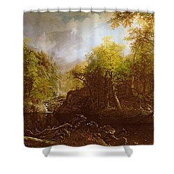 The Emerald Pool Shower Curtain by Albert Bierstadt