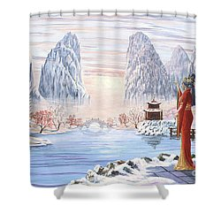 The Empress And The Unicorn Shower Curtain