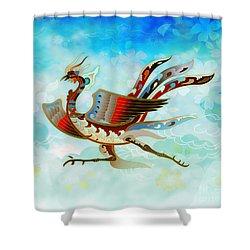 The Empress - Flight Of Phoenix - Blue Version Shower Curtain by Bedros Awak
