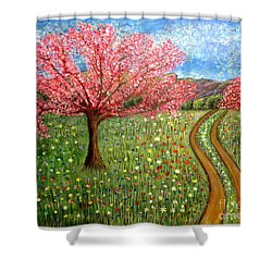 The Enchanted Fairy Garden Meadow Shower Curtain by Kimberlee Baxter