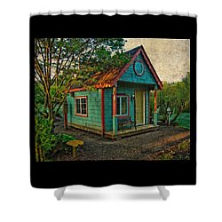 Shower Curtain featuring the photograph The Enchanted Garden Shed by Thom Zehrfeld