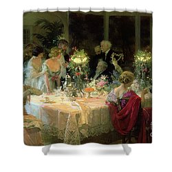 The End Of Dinner Shower Curtain by Jules Alexandre Grun