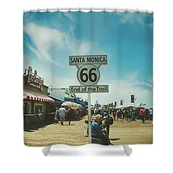 The End Of Sixty-six Shower Curtain by Laurie Search
