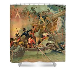 The English Navy Conquering A French Ship Near The Cape Camaro Shower Curtain by English School