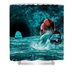 Shower Curtain featuring the digital art The Eternal Ballad Of The Sea by Olga Hamilton