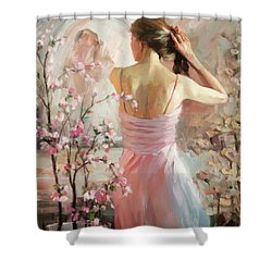 Shower Curtain featuring the painting The Evening Ahead by Steve Henderson