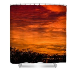 The Evening Sky Of Fire Shower Curtain by David Collins