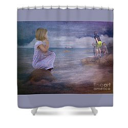 The Explorers Underneath The Night Sky At The Seashore Shower Curtain