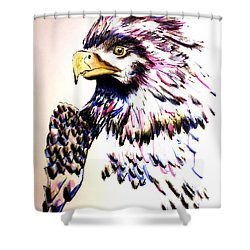 Shower Curtain featuring the painting Watercolor Painting Of The Eye Of Freedom By Ayasha Loya by Ayasha Loya