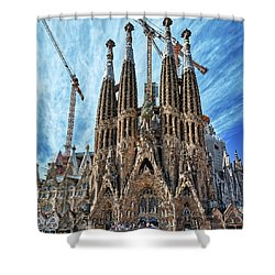 The Facade Of The Sagrada Familia Shower Curtain