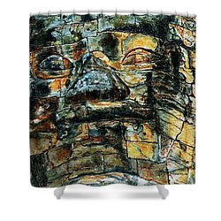 The Face Of The Buddha Shower Curtain by Joey Agbayani