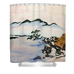 The Fading Spirit Of Chikanobu Awakened By Shintoism Shower Curtain by Sawako Utsumi