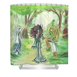 Shower Curtain featuring the painting The Fae - Sylvan Creatures Of The Forest by Shawn Dall
